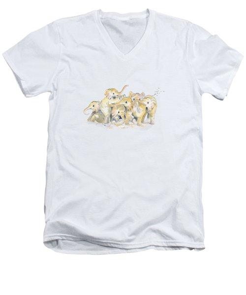 Baby Elephants Men's V-Neck T-Shirt
