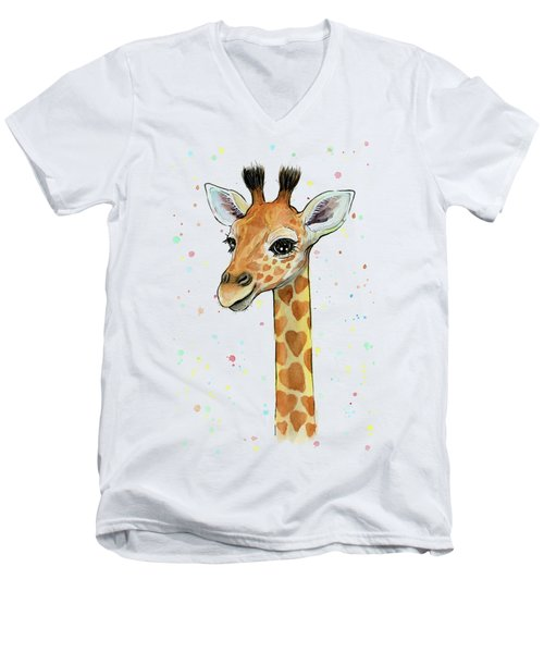 Baby Giraffe Watercolor With Heart Shaped Spots Men's V-Neck T-Shirt