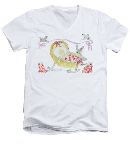 Baby Girl With Bunny And Birds Men's V-Neck T-Shirt