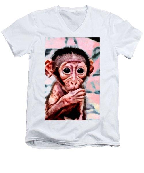 Baby Monkey Realistic Men's V-Neck T-Shirt
