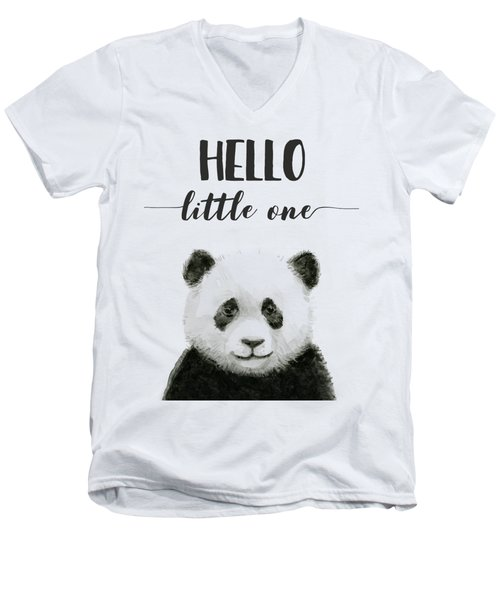 Baby Panda Hello Little One Nursery Decor Men's V-Neck T-Shirt