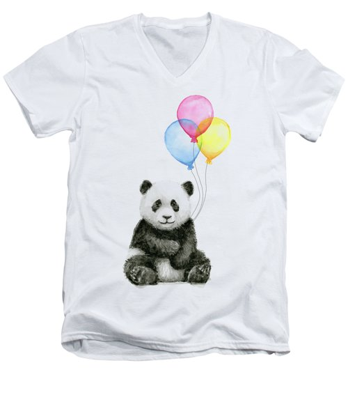 Baby Panda Watercolor With Balloons Men's V-Neck T-Shirt