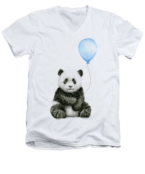 Baby Panda With Blue Balloon Watercolor Men's V-Neck T-Shirt