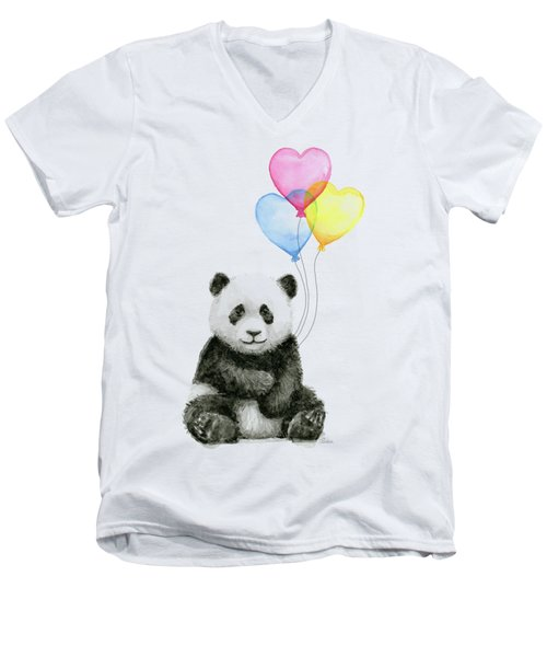 Baby Panda With Heart-shaped Balloons Men's V-Neck T-Shirt by Olga Shvartsur