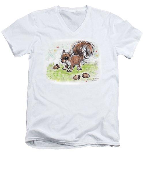 Baby Squirrel Men's V-Neck T-Shirt by Maria Bolton-Joubert