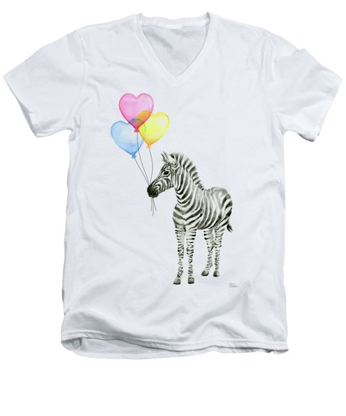 Baby Zebra Watercolor Animal With Balloons Men's V-Neck T-Shirt