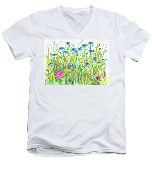 Men's V-Neck T-Shirt featuring the painting Bachelor Button Meadow by Cathie Richardson
