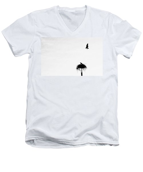 Men's V-Neck T-Shirt featuring the photograph Back To The Nest by AJ Schibig