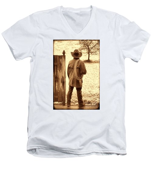 Back To Work Men's V-Neck T-Shirt by American West Legend By Olivier Le Queinec