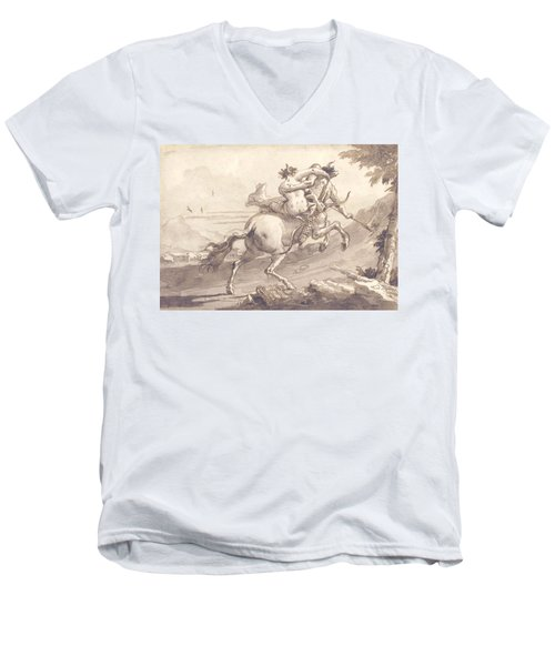 Back View Of A Centaur Abducting A Satyress Men's V-Neck T-Shirt