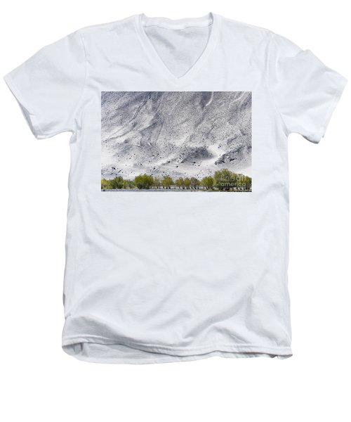Backdrop Of Sand, Chumathang, 2006 Men's V-Neck T-Shirt by Hitendra SINKAR