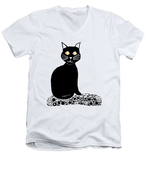 Background Choice Black Cat Men's V-Neck T-Shirt