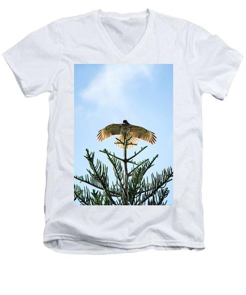 Backlit Landing Hawk Men's V-Neck T-Shirt