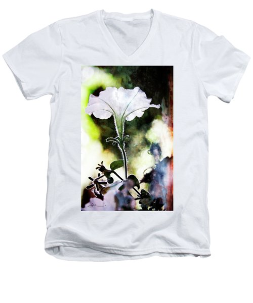 Backlit White Flower Men's V-Neck T-Shirt