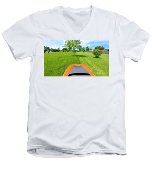 Men's V-Neck T-Shirt featuring the photograph Backyard Mowing by Ricky L Jones