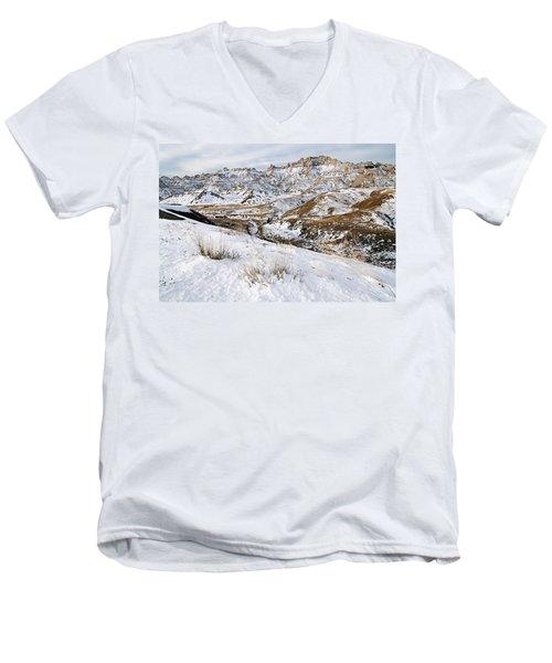 Badlands In Snow Men's V-Neck T-Shirt