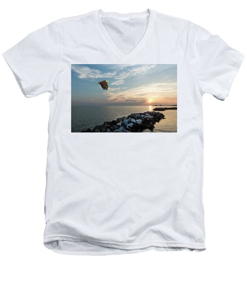 Bald Eagle Flying Over A Jetty At Sunset Men's V-Neck T-Shirt