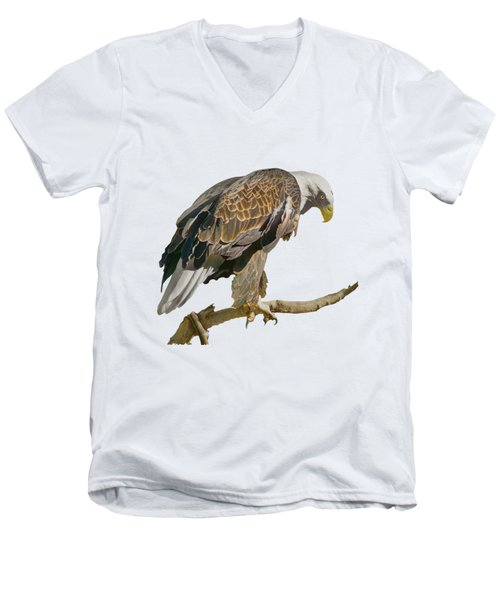 Men's V-Neck T-Shirt featuring the photograph Bald Eagle - Transparent by Nikolyn McDonald
