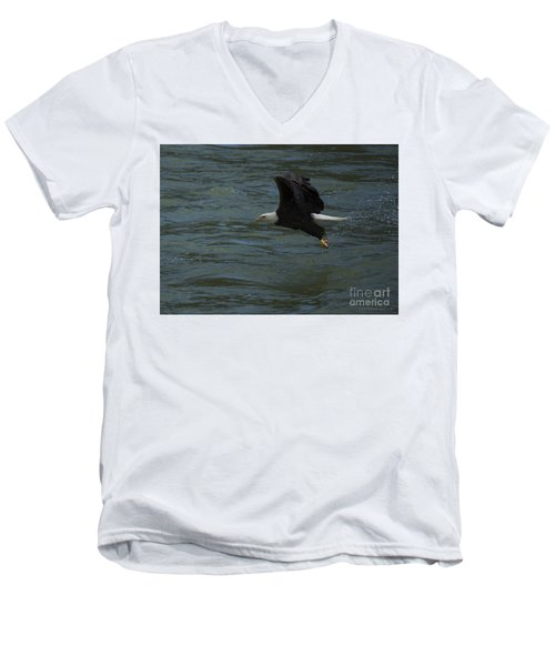Bald Eagle With Fish In Claws Flying Over The French Broad River, Tennessee Men's V-Neck T-Shirt by Nature Scapes Fine Art