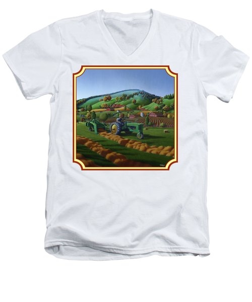 Baling Hay Field - John Deere Tractor - Farm Country Landscape Square Format Men's V-Neck T-Shirt by Walt Curlee