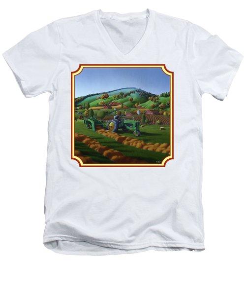 Baling Hay Field - John Deere Tractor - Farm Country Landscape Square Format Men's V-Neck T-Shirt