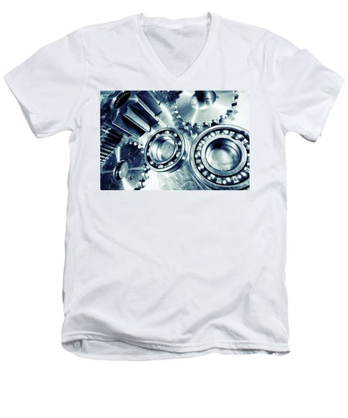 Ball-bearings And Cogs In Titanium Men's V-Neck T-Shirt