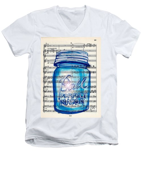 Men's V-Neck T-Shirt featuring the painting Ball Mason Jar Classical #168 by Ecinja