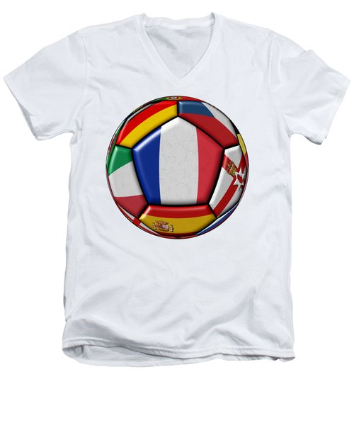 Ball With Flag Of France In The Center Men's V-Neck T-Shirt by Michal Boubin