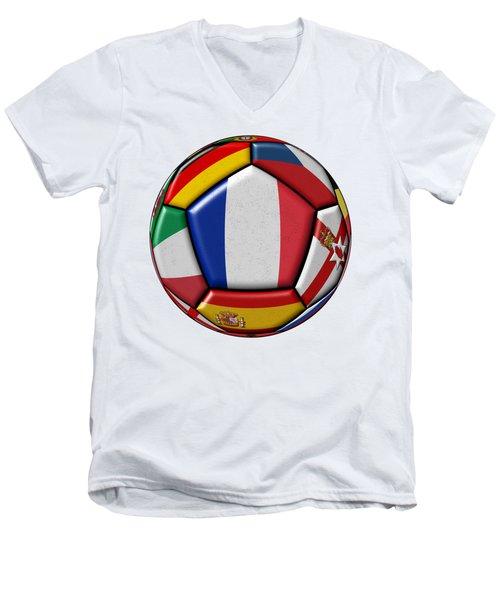 Ball With Flag Of France In The Center Men's V-Neck T-Shirt