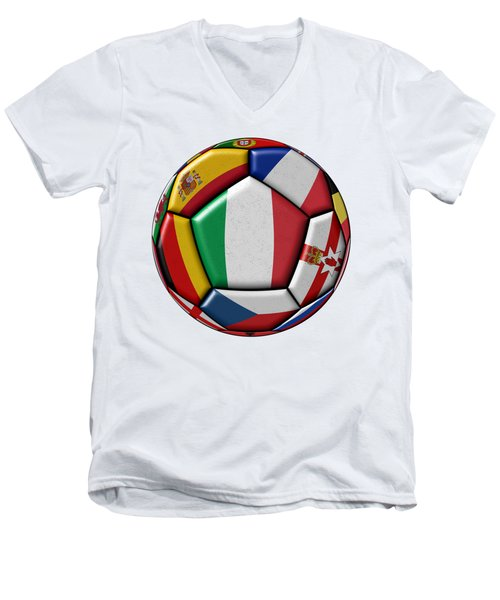 Ball With Flag Of Italy In The Center Men's V-Neck T-Shirt by Michal Boubin