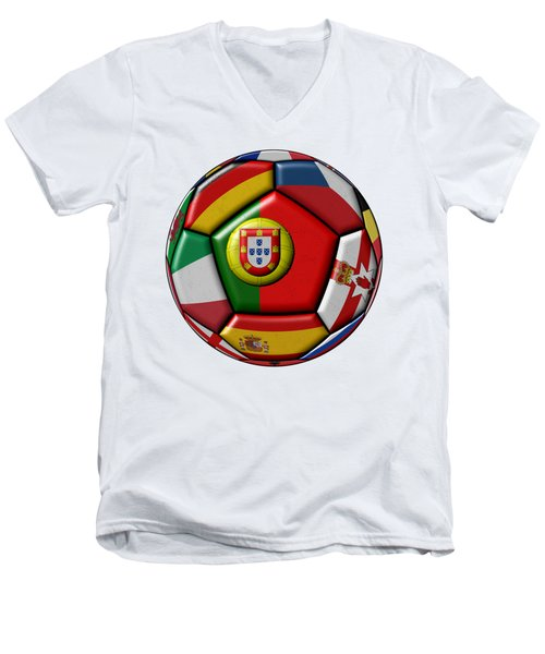 Ball With Flag Of Portugal In The Center Men's V-Neck T-Shirt by Michal Boubin