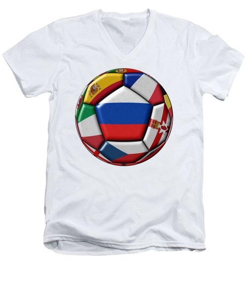 Ball With Flag Of Russia In The Center Men's V-Neck T-Shirt by Michal Boubin