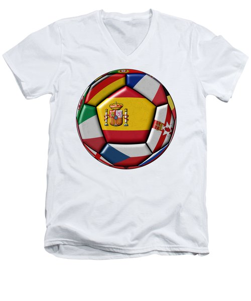 Ball With Flag Of Spain In The Center Men's V-Neck T-Shirt by Michal Boubin