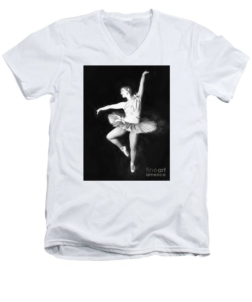 Men's V-Neck T-Shirt featuring the photograph Ballerina  No. 2   ... by Chuck Caramella