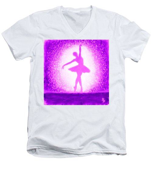 Men's V-Neck T-Shirt featuring the painting Ballerina Purple And Pink by Bob Baker