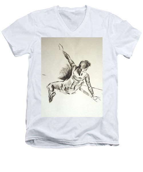 Ballet Dancer Sitting On Floor With Weight On Her Right Arm Men's V-Neck T-Shirt