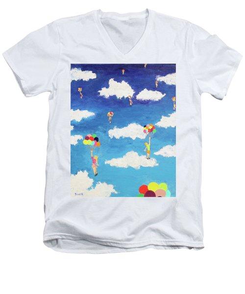 Balloon Girls Men's V-Neck T-Shirt by Thomas Blood