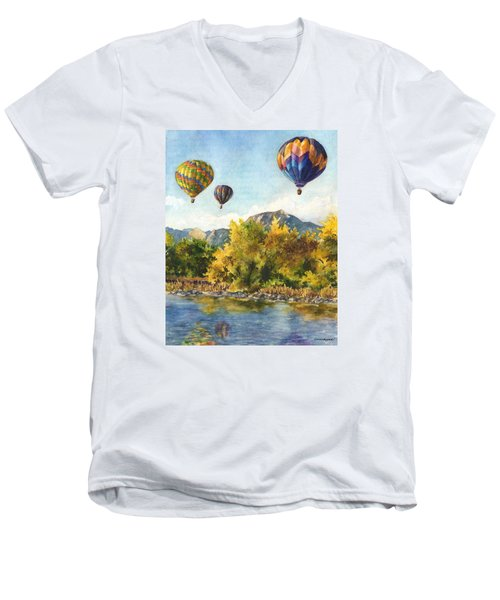 Balloons At Twin Lakes Men's V-Neck T-Shirt by Anne Gifford