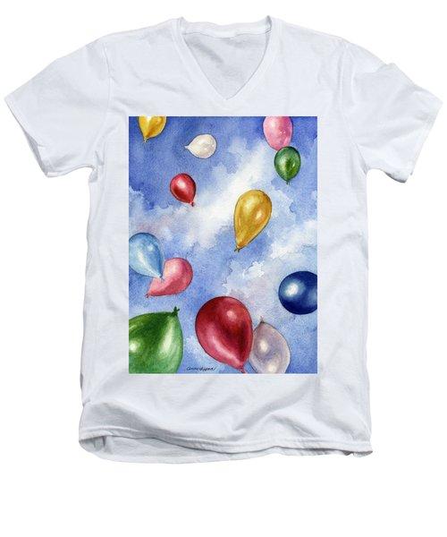 Balloons In Flight Men's V-Neck T-Shirt by Anne Gifford