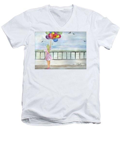 Baloons Men's V-Neck T-Shirt by P J Lewis