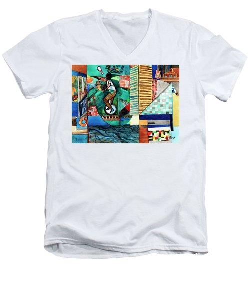 Baltimore Inner Harbor Street Performer Men's V-Neck T-Shirt