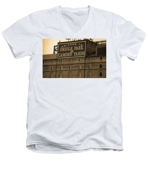 Baltimore Orioles Park At Camden Yards Sepia Men's V-Neck T-Shirt