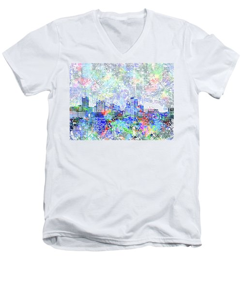 Men's V-Neck T-Shirt featuring the painting Baltimore Skyline Watercolor 10 by Bekim Art