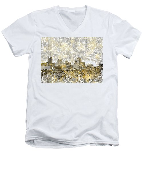 Men's V-Neck T-Shirt featuring the painting Baltimore Skyline Watercolor 8 by Bekim Art