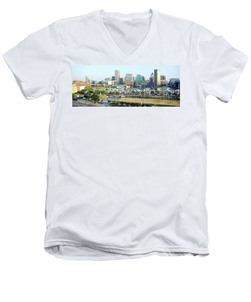 Men's V-Neck T-Shirt featuring the photograph Baltimore's Inner Harbor by Brian Wallace