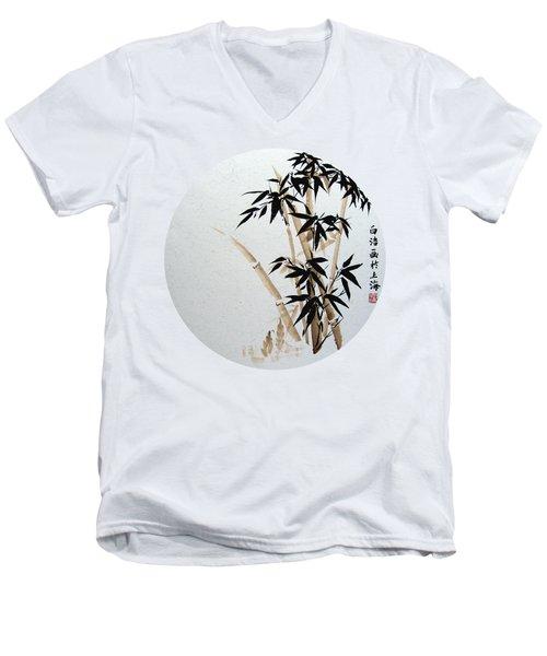 Bamboo - Braun - Round Men's V-Neck T-Shirt by Birgit Moldenhauer