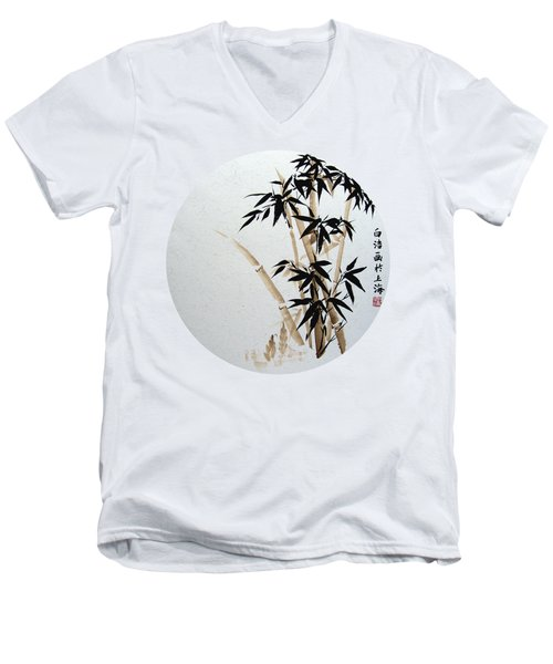 Bamboo - Braun - Round Men's V-Neck T-Shirt