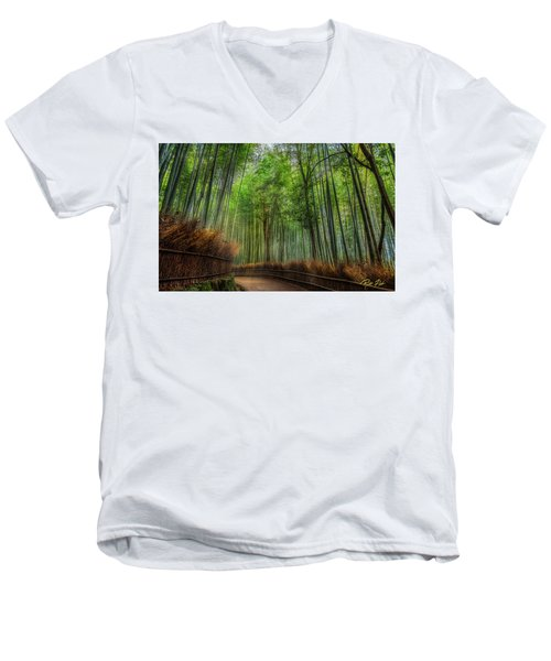 Men's V-Neck T-Shirt featuring the photograph Bamboo Path by Rikk Flohr