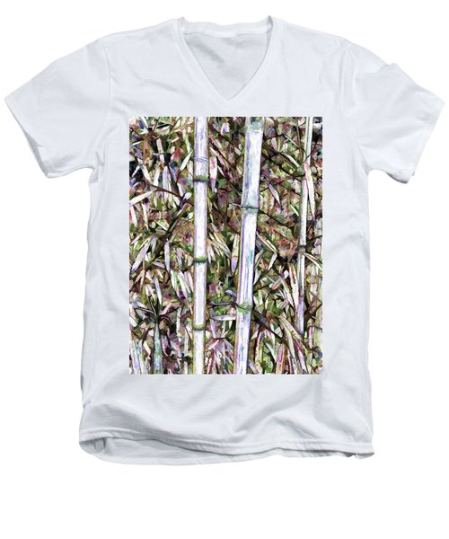 Men's V-Neck T-Shirt featuring the painting Bamboo Stalks by Lanjee Chee