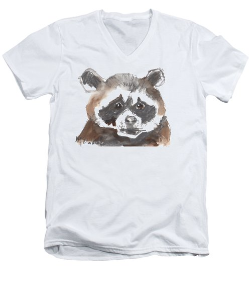 Bandit Raccoon Men's V-Neck T-Shirt by Kathleen McElwaine